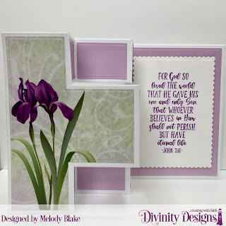 Divinity Designs Stamp Set: John 3:16, Custom Dies:Scalloped Rectangles,  Belly Band, Double Stitched Circles, Half-Shutter Card with Layers, Paper Collection: Spring Flowers 2019