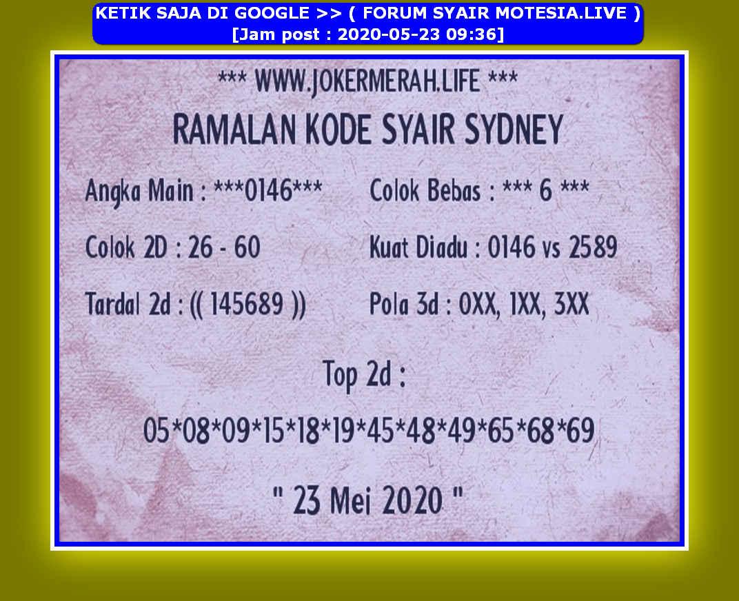 Kode syair Sydney Sabtu 23 Mei 2020 130