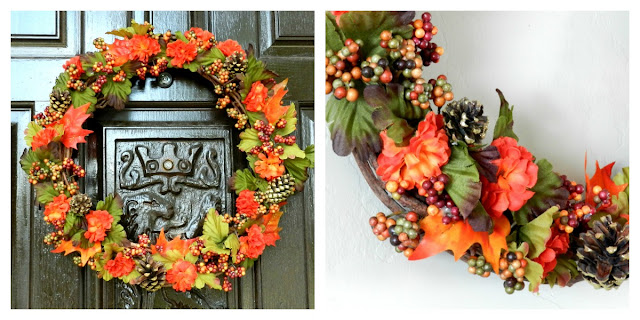 Dollar Store Fall Flower and Pinecone Wreath