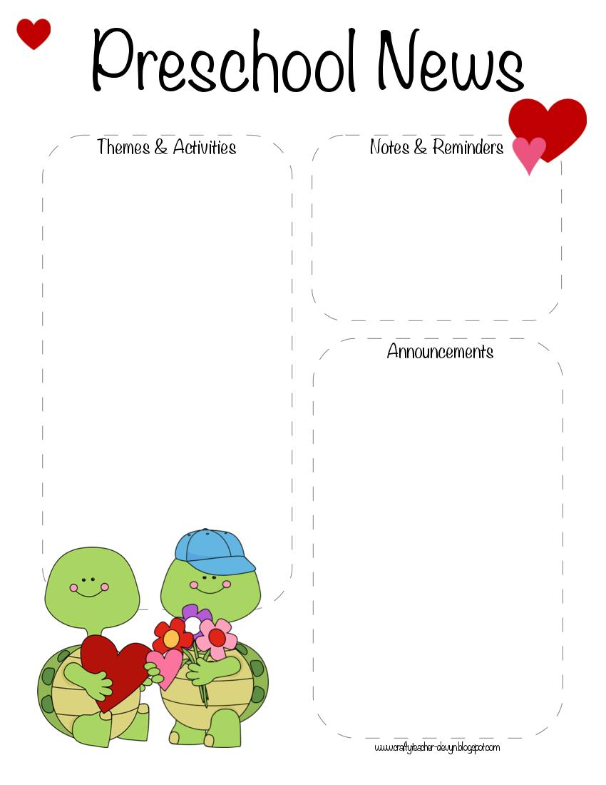 preschool valentine 39 s day february newsletter template. Black Bedroom Furniture Sets. Home Design Ideas