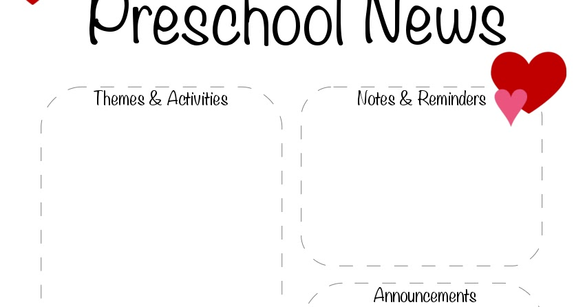 Preschool Valentine's Day, February Newsletter Template