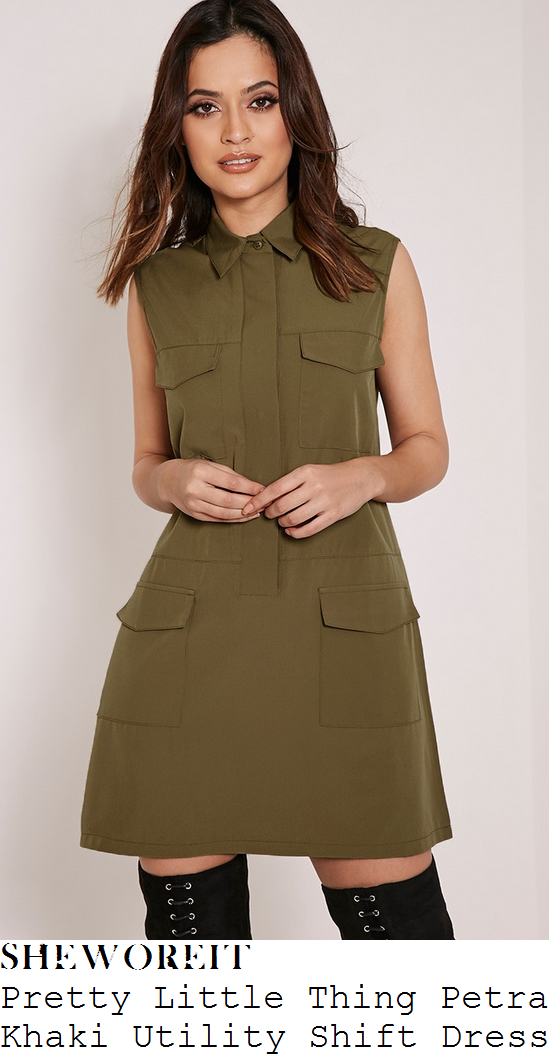 danielle-armstrong-khaki-green-sleeveless-collared-button-up-pocket-a-line-shirt-mini-dress-lockies-kitchen