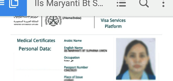contoh setrifikat medical gamca yang sudah online untuk vfs tasheel proses visa saudi arabia