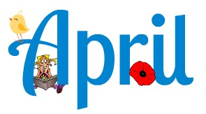 April with girl reading and little chick perched on A and a poppy toward the end for Anzac day