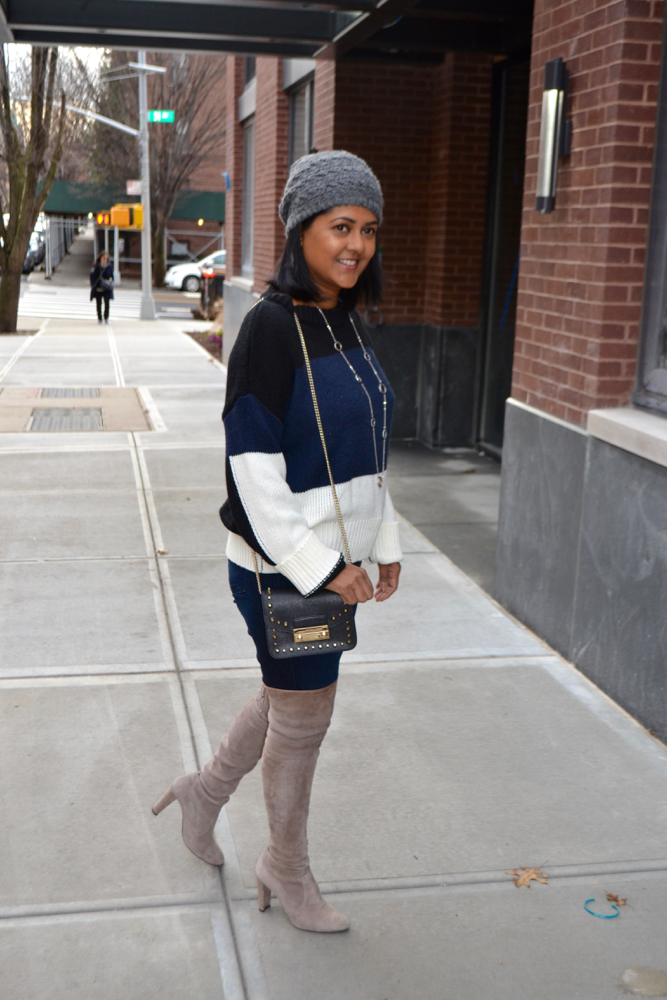 sweater weather in NY, how to wear a color block sweater