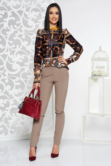 Pantaloni dama eleganti crem office conici cu talie medie din stofa usor elastica cu buzunare