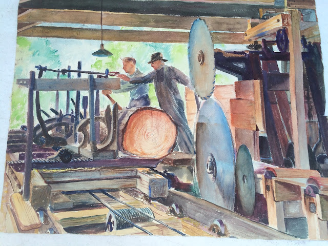 watercolor of lumber mill by Francis Quirk