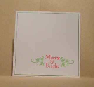 CAS Christmas card, Merry and Bright in red with green holly swirls
