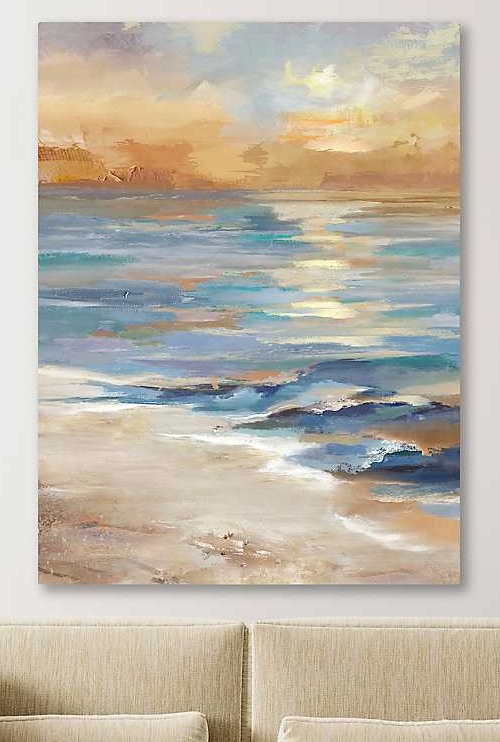 Sea at Sunset Vertical Painting Canvas Art Print