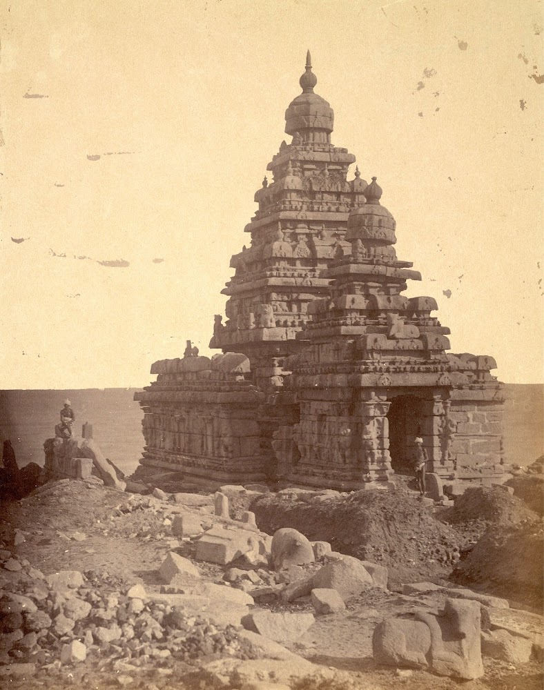 General view from the north-west of the Shore Temple, Mamallapuram, Tamil Nadu - c.1885