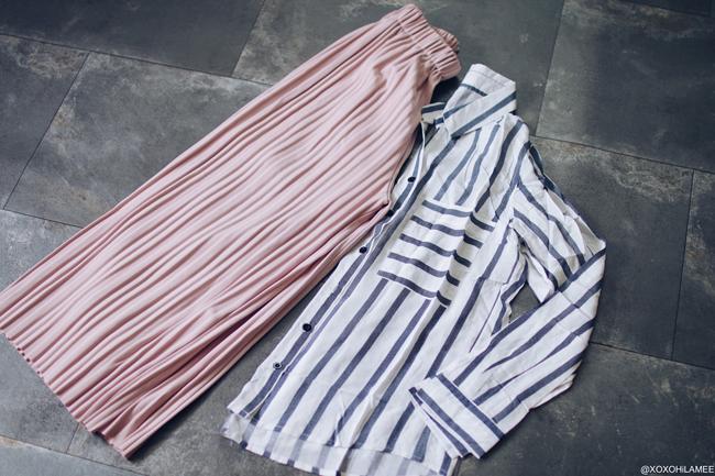 新作 シーイン ピンクプリーツガウチョパンツ、ホワイトネイビーストライプシャツ