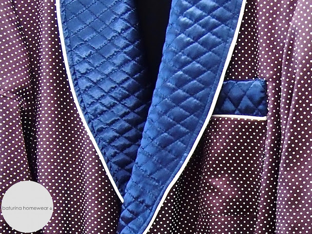 Quilted silk shawl collar robe for men