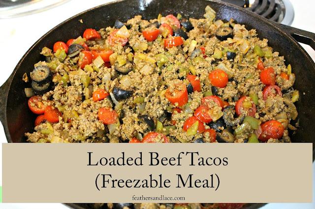 Loaded beef tacos.