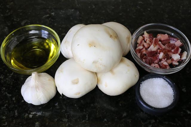 Ingredientes para champiñones con jamón