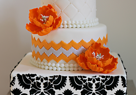 orange and white wedding cakes a vibrant orange and damask 60th birthday cake the 18042