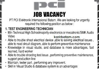 Lowongan Kerja test Engineering PT. PCI Elektronik