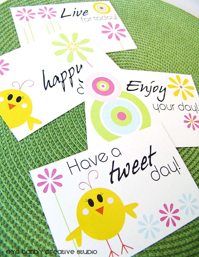spring postcards, enjoy your day postcard, have a tweet day postcard