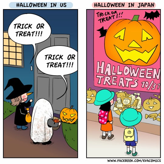 Halloween celebration in US and Japan comics