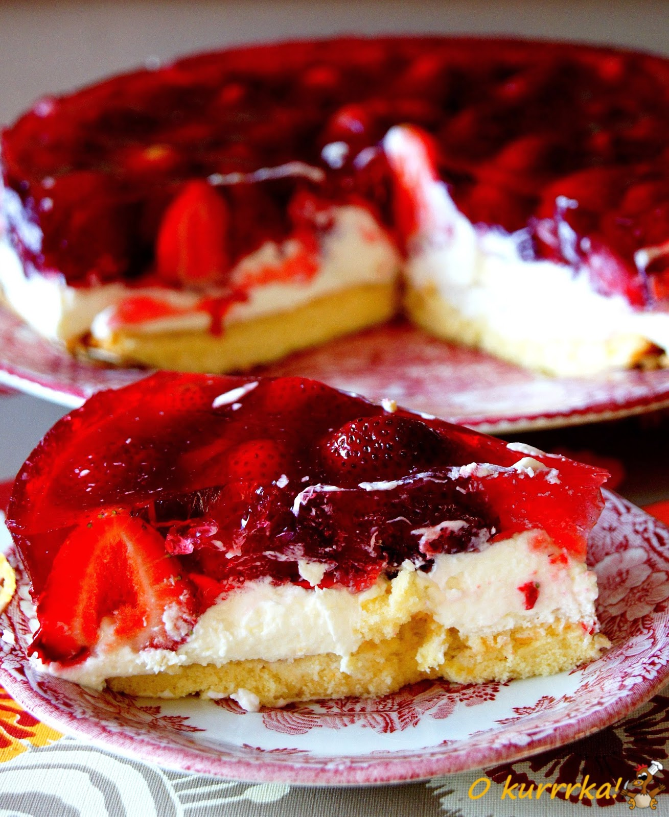 Poland Cake: Okurrrka! English: Strawberry Sponge-cake With Cream And Jelly