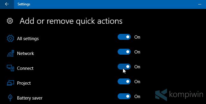 Cara Mengubah Letak/Jumlah Tombol Quick Action di Windows 10 3