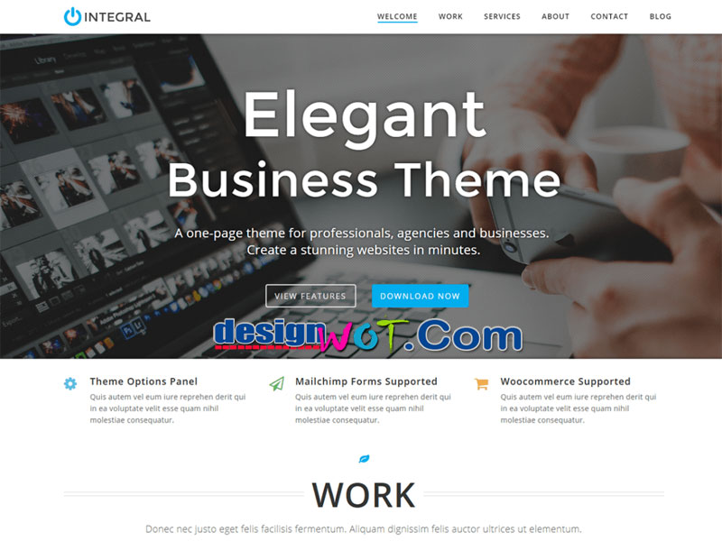 Integral One Page WordPress Theme