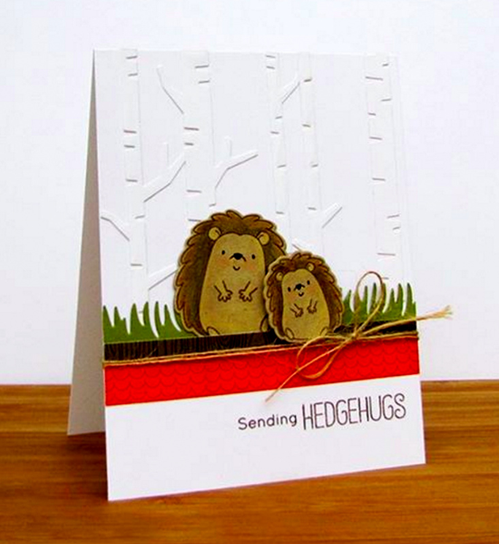 Birdie Brown Happy Hedgehogs stamp set and Die-namics and Birch Trees Die-namics - Karen Baker #mftstamps