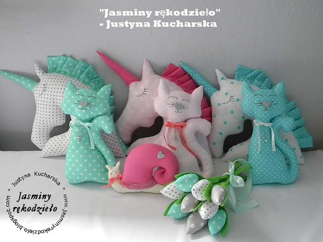 Poduszki, maskotki- Jednorożec, kotek, ślimak, żyrafa