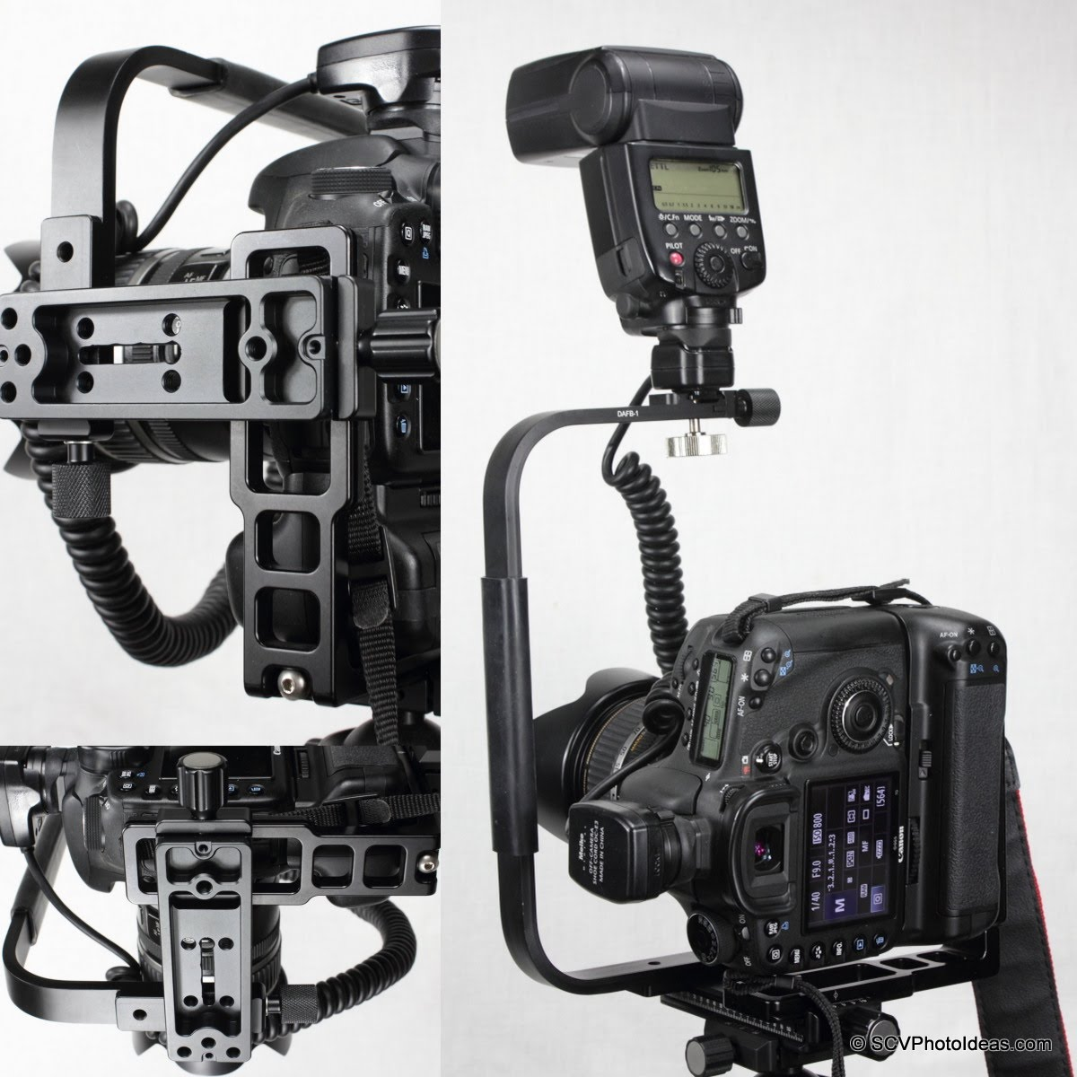 Hejnar L Bracket 44 on Gripped Canon EOS 7D -clamped on slide w/ flash bracket