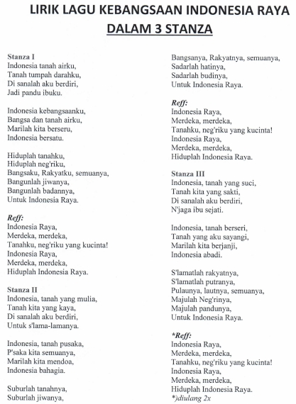 Lagu Indonesia Raya yang biasa dinyanyikan pada program upacara bendera dan program penting la Lirik Lagu Kebangsaan Indonesia Raya 3 Stanza/Bait; Lirik Ejaan Terbaru, Asli, dan Resmi