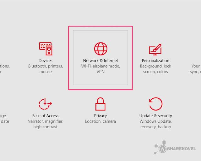 Setting Network & Internet - Cara Mematikan Windows Auto Update di Windows 10 - by sharehovel
