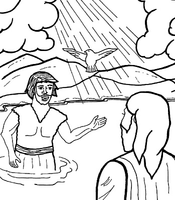 Imagen del Bautismo de Jesús para colorear pintar e imprimir