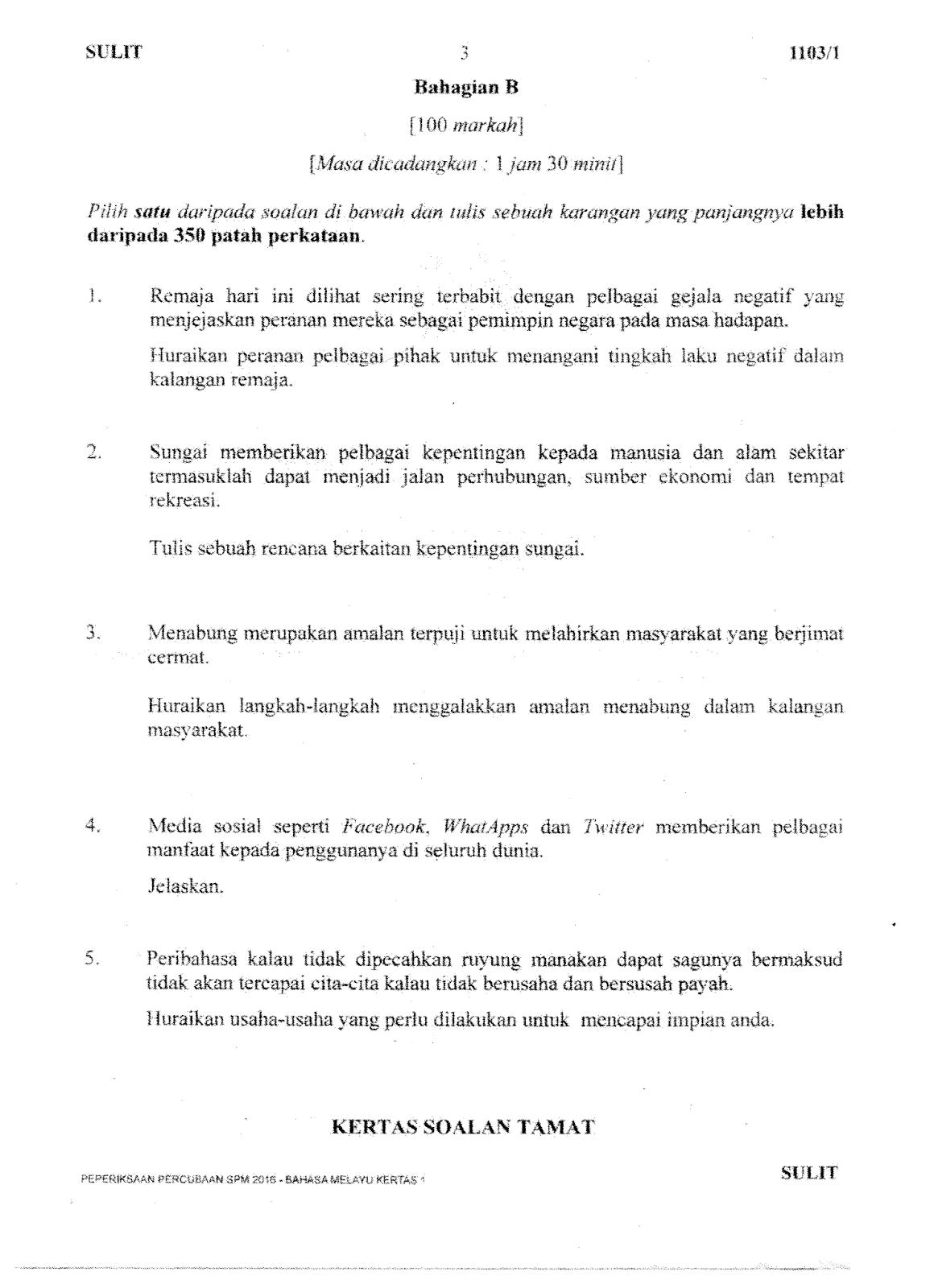 Soalan Percubaan Bahasa Melayu Spm 2016 Kelantan 2