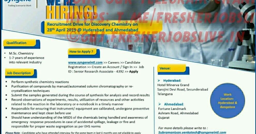Top 12 M sc Chemistry Fresher Job In Gujarat - Gorgeous Tiny
