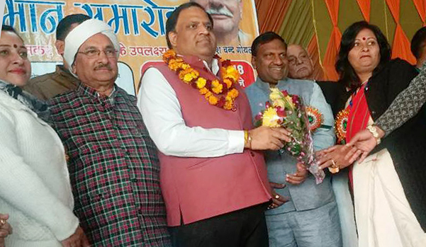 Welcoming Mr. Vipul Goyal, Industry Minister, at the respected ceremony held at Palwal Shyamakun
