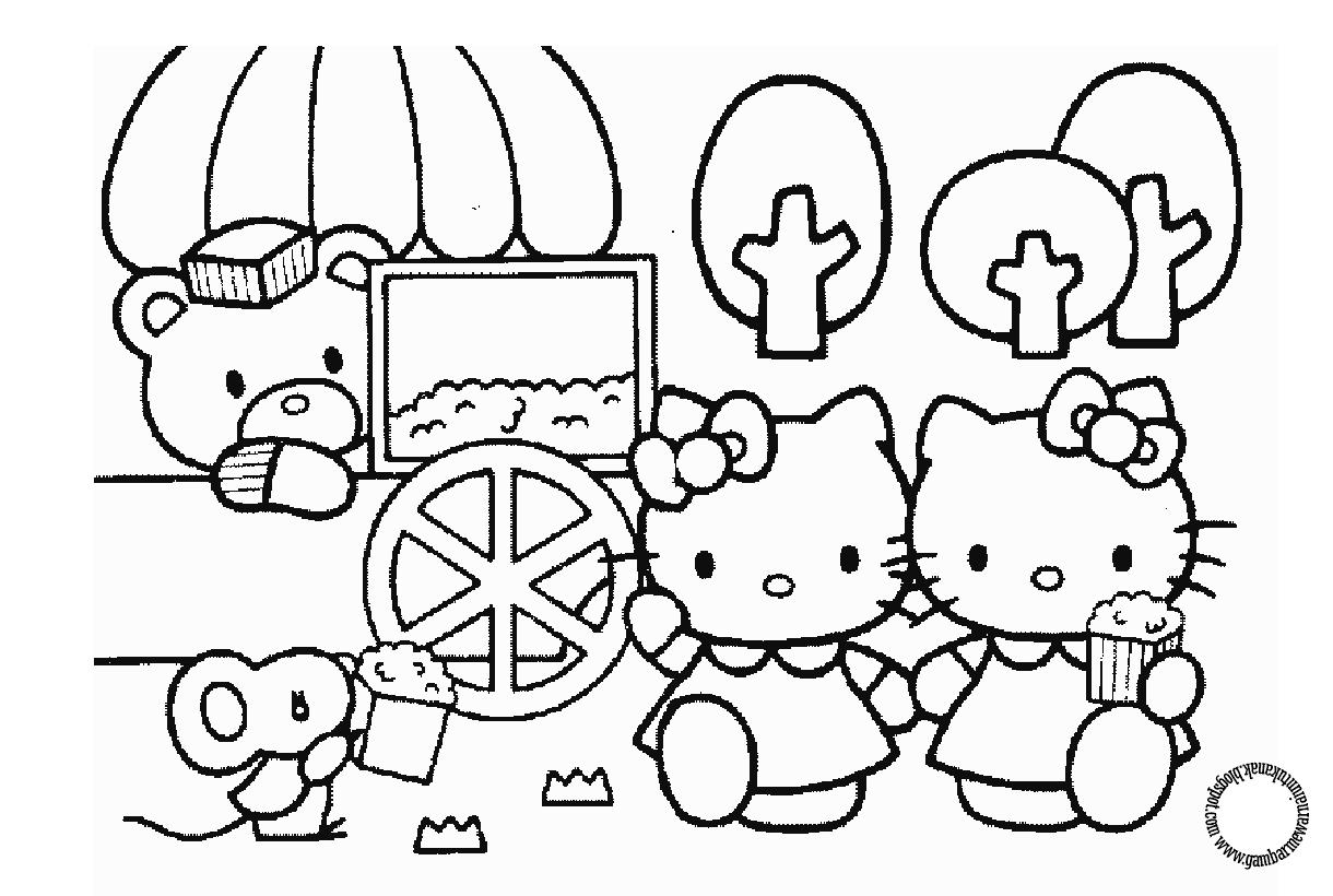 Gambar Mewarnai Hello Kitty Untuk Anak