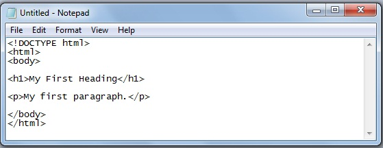 Creating Your First HTML Page by writing the code in NotePad