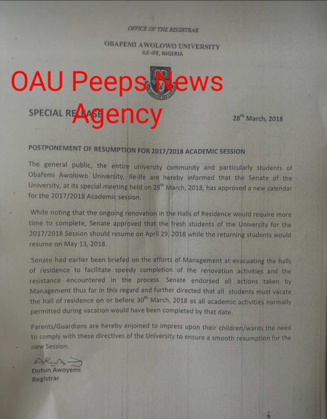 oau management issues fresh directives to students still on campus