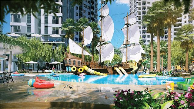 Công viên nước tàu hải tặc tại Đảo Kim Cương.