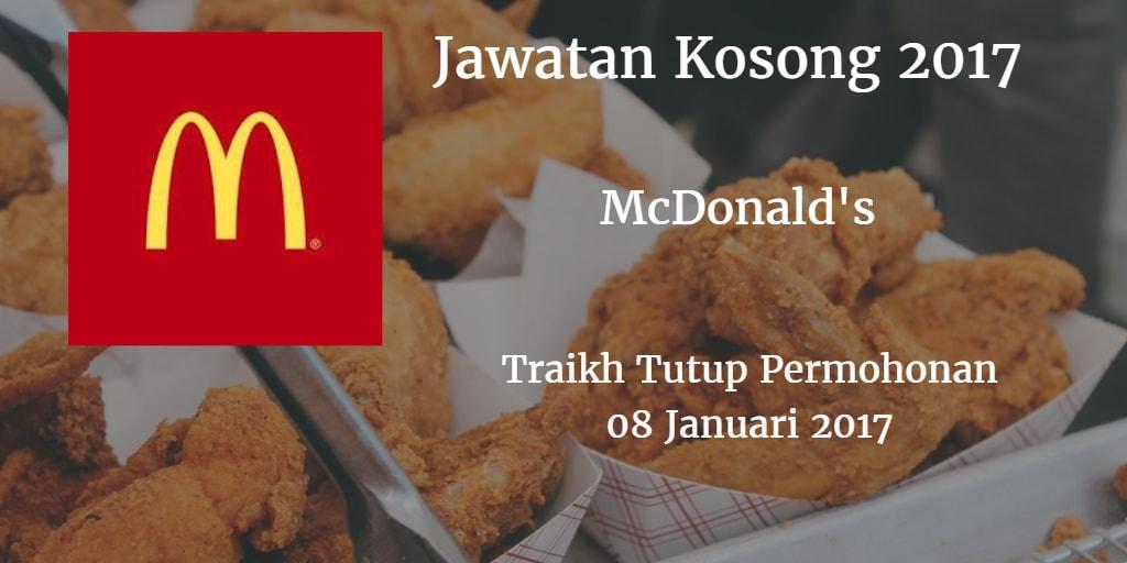 Jawatan Kosong McDonald's 08 Januari 2017
