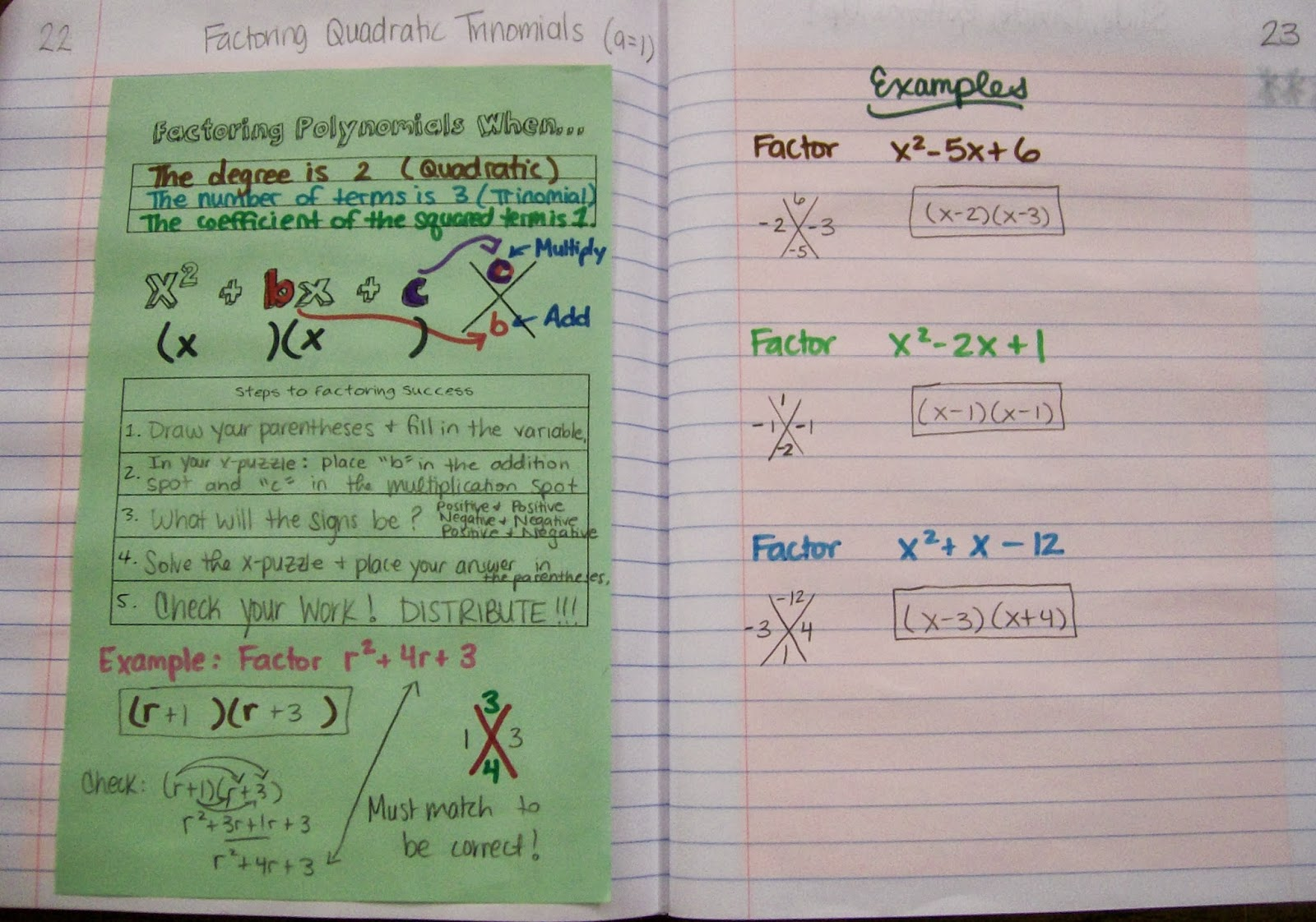 Math = Love: Algebra 1 INB Pages - Polynomials and Factoring