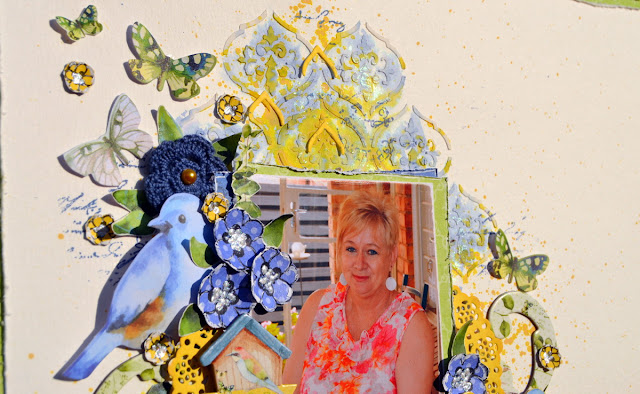 Mixed Media Layout by Denise van Deventer using BoBunny Serendipity Collection and Pentart Chameleon Wax Paste