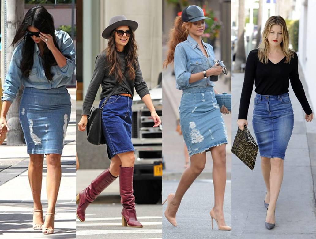 how to distressed denim pencil skirt