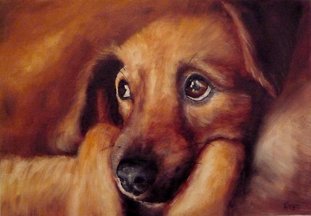 oil painting of a brown dog with large, pleading eyes