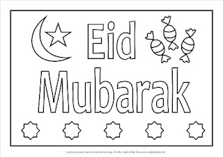 Free printable Eid Mubarak colour-in placemat.
