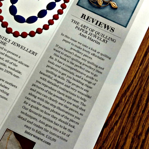 Review of The Art of Quilling Paper Jewelry in Making Jewellery magazine