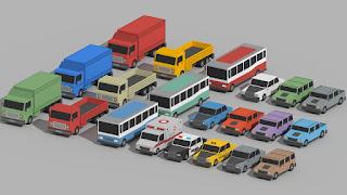 Low Poly Cars Cartoon Vehicles