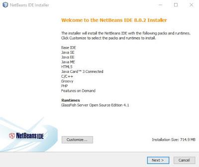 langkah awal untuk menginstal netbeans di laptop dengan pilihan costumize atau default