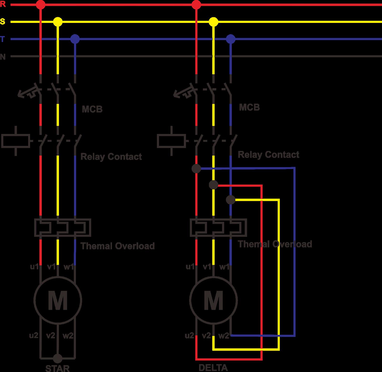 Share: Rangkaian Daya Motor 3 Fasa : Perbedaan Rangakaian Star - Delta