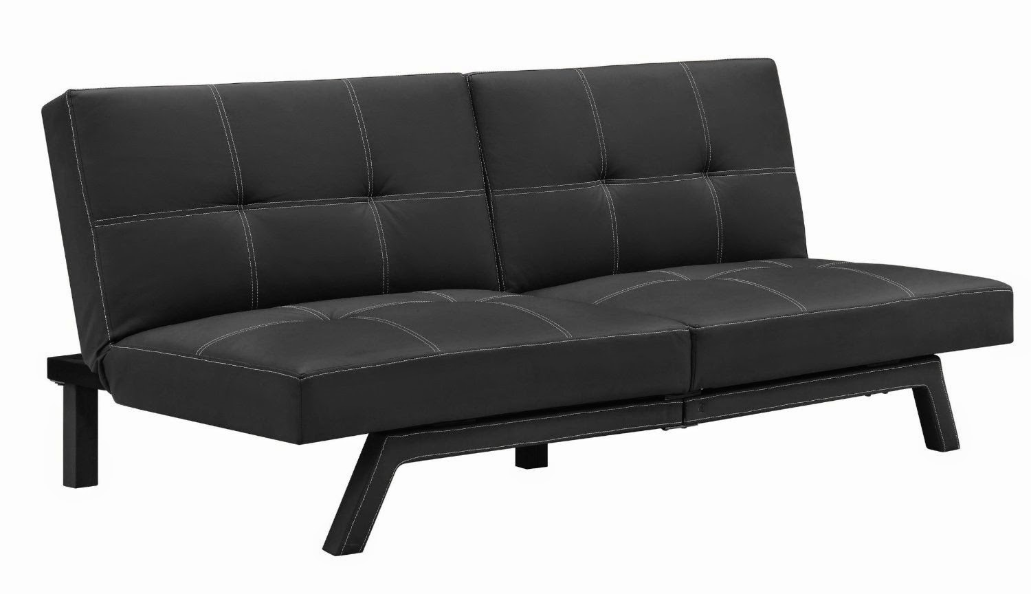 futon black leather couch