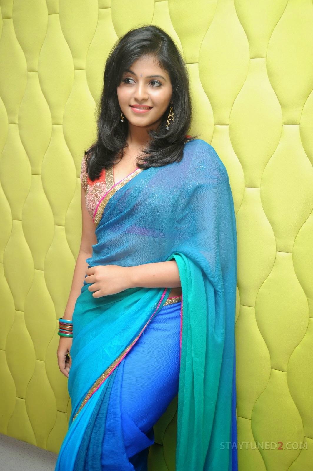 Anjali in saree, Anjali in blue saree
